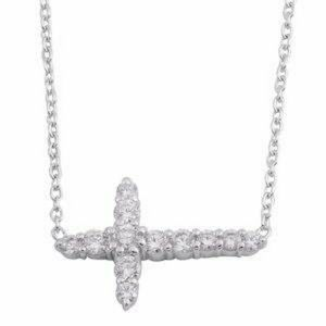 Jewelry - 🌺Pure 925- Sterling Silver side cross necklace